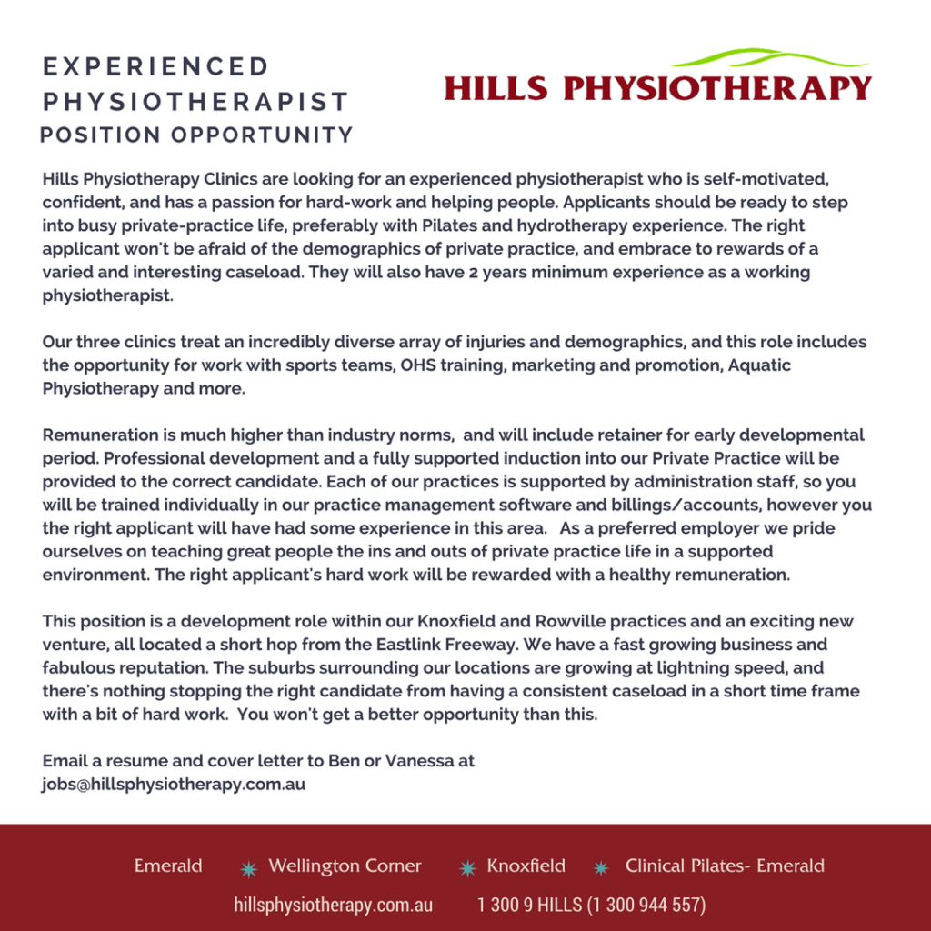 EXPERIENCED CLINICAL PILATES INSTRUCTOR PHYSIOTHERAPIST